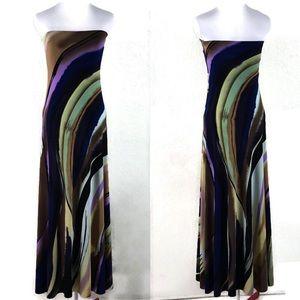 SANDRA DAMIANO Strapless Jersey Knit Maxi Dress